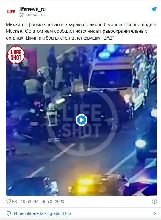Пьяный актер Михаил Ефремов чуть не убил в ДТП несколько человек