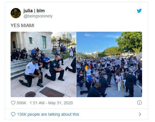 «Мы все — одна раса. Человеческая раса»: Силовики начали присоединяться к протестующим в США